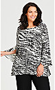 Plus Size Emily Print Top - black abstract