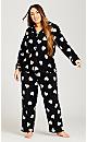 Plus Size Button Up Fleece Top - black