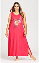 Plus Size Flower Print Maxi Dress - pink