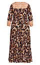 Plus Size Elodie Border Maxi Dress - black paisley