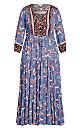 Plus Size Elodie Border Maxi Dress - blue paisley