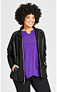 Plus Size Mock Neck Jacket - black