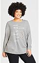 Plus Size Smile Slogan Top - gray