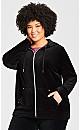 Plus Size Velour Zip Hoodie Sweatshirt - black