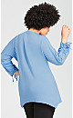 Plus Size Ruched Sleeve  Sharkbite  Top - blue