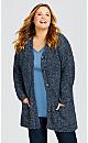 Plus Size Amber Boucle Cardi - blue