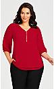 Plus Size Meila Zip Top - red