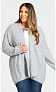 Plus Size Cuddle Longline Cardigan - gray
