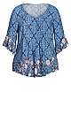 Plus Size Abby Pin Tuck Top - blue