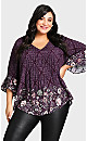 Plus Size Abby Pin Tuck Top - plum