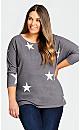 Plus Size Star Top - gray