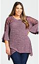 Plus Size Liana Lace Detail Tunic - plum