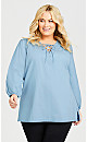 Plus Size Jolie Lace Up Top - chambray