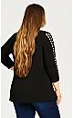 Phoebe Lattice Sleeve Top - black