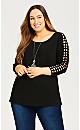 Plus Size Phoebe Lattice Sleeve Top - black