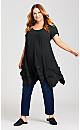 Plus Size Kaya Frill Sleeve Tunic - black