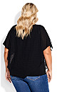 Plus Size Shelly Overlay Top - black