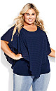 Plus Size Shelly Overlay Top - navy