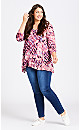 Plus Size V-Neck Swing Print Top - berry