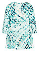 Plus Size V-Neck Swing Print Top - teal
