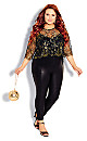 Plus Size Short Sleeve Stunning Lace Top - bronze