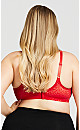 Plus Size Soft Caress Lace Bra - red