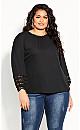 Plus Size Lace Desire Shirt - black