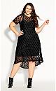 Plus Size Spot Flock Dress - black