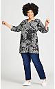 Plus Size Imani Shirt - black floral