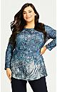 Plus Size Evie Hacci Top - teal print
