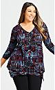 Plus Size Isla Top - black batik