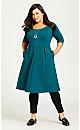 Plus Size Demi Skater Dress - teal