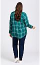Plus Size Kylee Check Shirt - jade