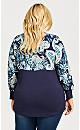 Plus Size Josie Mixed Media Top - navy jade