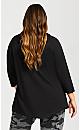 Plus Size Graphic Hood Top - black