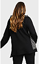 Plus Size Zip Stripe Panel Jacket - black