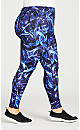 Plus Size Swirl Print Pant -  blue