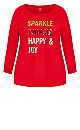Plus Size Sparkle Top - red