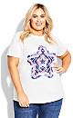 Plus Size Print Tee - white star