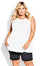 Plus Size Fit N Flare Tank - white
