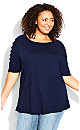 Plus Size Caged Sleeve Top - navy