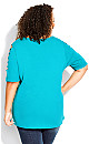 Plus Size Caged Sleeve Top - turquoise