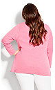Plus Size V Neck Long Sleeve Top tango red