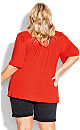 Plus Size Smock Square Neck Top - tango red