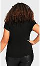 Plus Size 3 Bar V Neck Tunic - black