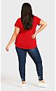 Plus Size 3 Bar V Neck Tunic - red