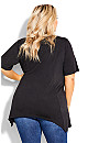 Plus Size Knotted Cage Tunic - black