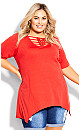 Plus Size Knotted Cage Tunic - tango red