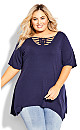 Plus Size Knotted Cage Tunic - navy
