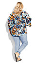 Plus Size Pleater Tunic - blue abstract